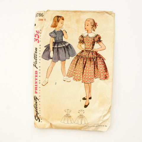 Vintage Simplicity Pattern 3786, Girl's One-Piece Dress, Size 8 (c.1950s) - ThirdShift Vintage