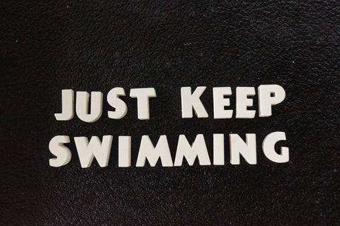 "Vintage White Ceramic Push Pins ""JUST KEEP SWIMMING"" (c.1940s) - thirdshift"