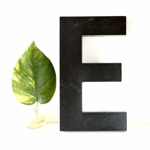 "Vintage Industrial Letter ""E"" 3D Sign Letter in Black Heavy Plastic, 12"" tall (c.1980s) N2 - thirdshift"