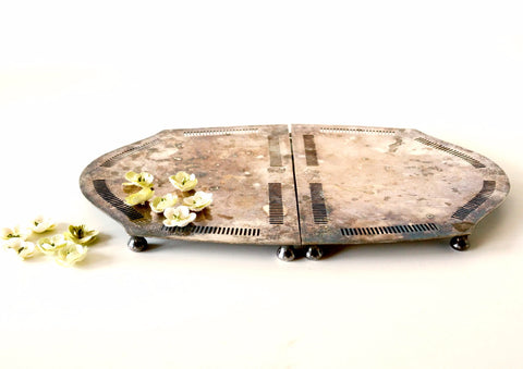 Vintage Silverplate Metal Extendable Trivet by Wilcox (c.1920s) - ThirdShiftVintage.com