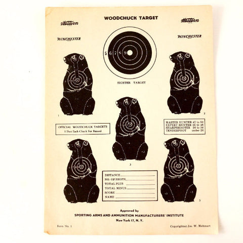 Vintage Winchester Woodchuck Shooting Target, 12 x 9 inches (c.1950s) - ThirdShiftVintage.com