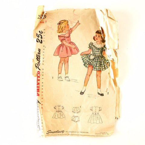 Vintage Simplicity Pattern 2529, Child's One-Piece Dress and Panties, Size 1 (c.1940s)