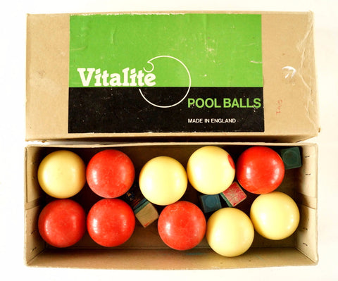 Vintage Vitalite Pool Balls Snooker Balls in Original Box, Made in England (c.1970s) - ThirdShiftVintage.com