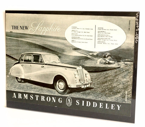 Vintage Armstrong Siddeley Sapphire Saloon Car Original Print Ad, Period Paper (1952)
