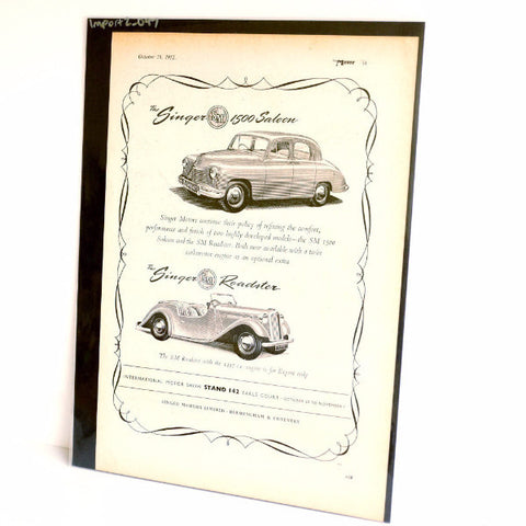 Vintage Singer 1500 Saloon and Singer Roadster Original Print Ad, Period Paper (1952)