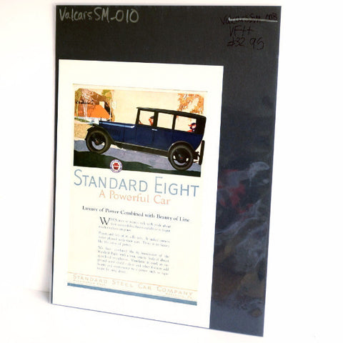 Vintage Blue Standard Eight Antique Car Original Print Ad, Period Paper (1919)