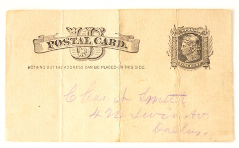 Vintage / Antique Post Card to Chas. N. Smith, Grand Lodge of Texas Freemason Dues (September 1, 1885) - Collectible, Paper Ephemera - ThirdShift Vintage