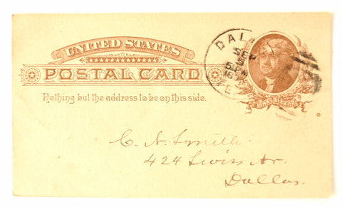 Vintage Post Card Grand Lodge of Texas Freemason Dues (September 1, 1886) - ThirdShiftVintage.com