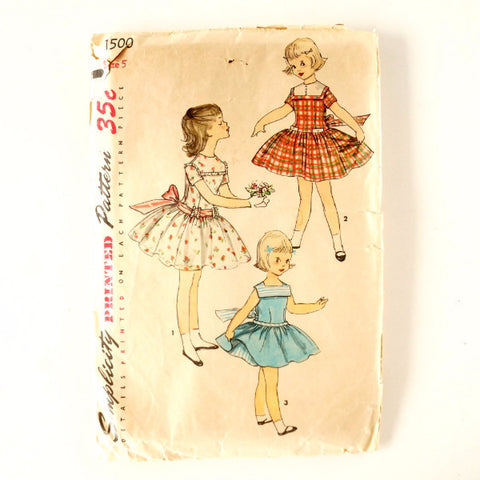 Vintage Simplicity Pattern 1500 Child's One-Piece Dress with Petticoat, Size 5 (c.1950s) - ThirdShiftVintage.com