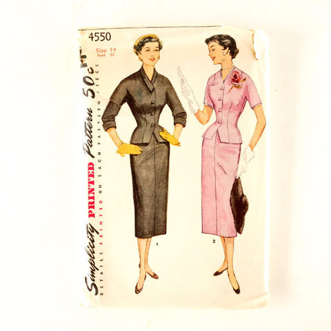 Vintage Simplicity Pattern 4550, Misses' Two-Piece Suit, Unused, Size 14 Bust 32 (c.1950s) - ThirdShiftVintage.com