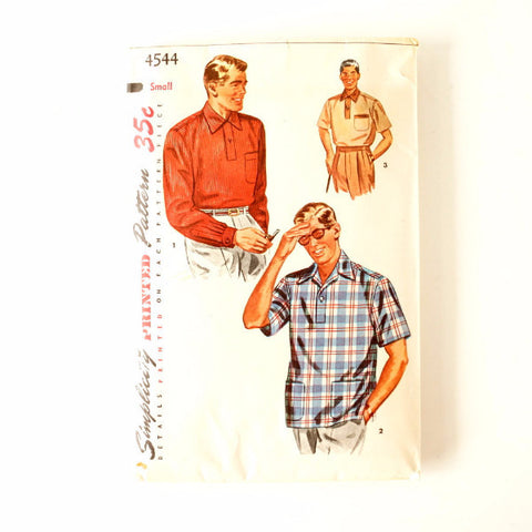 Vintage Simplicity Pattern 4544 Man's Sport Shirt, Father Son Size Small (c1950s)