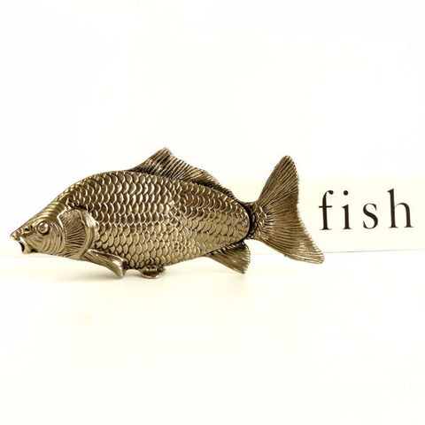 Vintage Italian Silvertone Metal Fish Napkin Holder / Fish Photo Holder with Original Box (c.1960s) - thirdshift