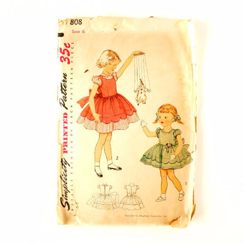 Vintage Simplicity Pattern 3808 Child's One-Piece Dress Mother Daughter, Size 6 (c.1950s) - ThirdShift Vintage