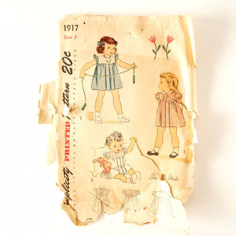 Vintage Simplicity Pattern 1917, Child's One-Piece Dress, Size 3 (c.1940s)