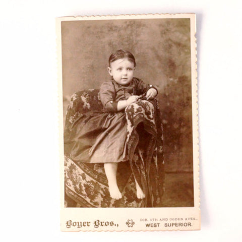 Antique Photograph Cabinet Card of Girl from Wisconsin, Violet Orissa Specht (c1890s) - ThirdShift Vintage