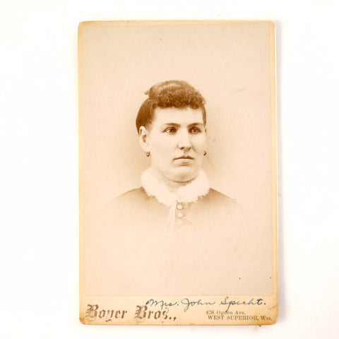 Antique Photograph Cabinet Card of Woman from Wisconsin, Mariah Specht (c1890s) - ThirdShiftVintage.com