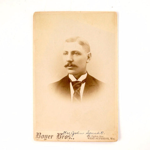 Antique Photograph Cabinet Card of Man from Wisconsin, Dr. John Specht (c1890s) - ThirdShift Vintage