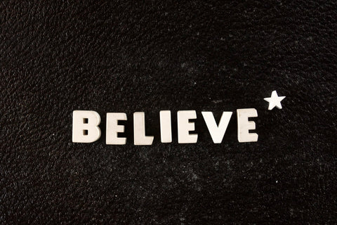 "Vintage White Ceramic Push Pins ""BELIEVE*"" (c.1940s) - ThirdShift Vintage"