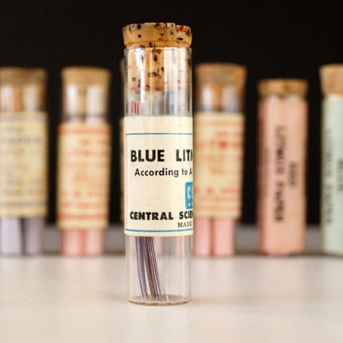 Vintage Glass Vial of Litmus Paper, Blue Paper, Ivory Label (c.1940s) - ThirdShift Vintage