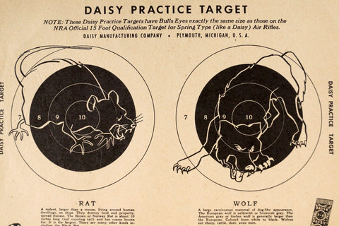 Vintage Rat and Wolf Daisy Practice Target, 9 x 7 inches (c.1950s) - thirdshift