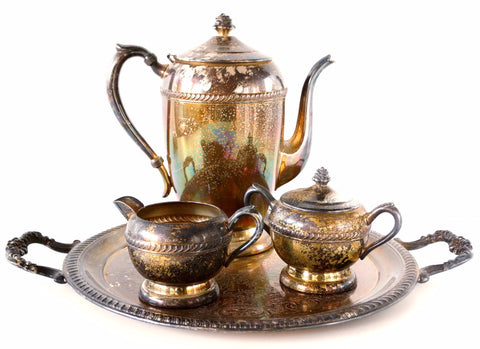 Vintage Silverplate Tea Set with Pot, Tray, Sugar Bowl, Creamer, Unused and Tarnished (c.1950s) - ThirdShiftVintage.com