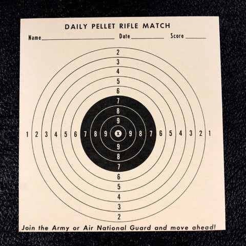 Vintage Daily Pellet Rifle Match Practice Target, 6x7 inches (c.1970s) - ThirdShift Vintage