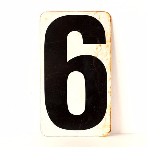 Vintage Metal Number 6 / 7 Double-Sided Gas Station Sign in White and Black, 13 inches (c.1950s) - thirdshift
