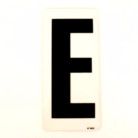 "Vintage Industrial Marquee Sign Letter ""E"", Black on Clear Acrylic, 10"" tall (c.1970s) - ThirdShift Vintage"