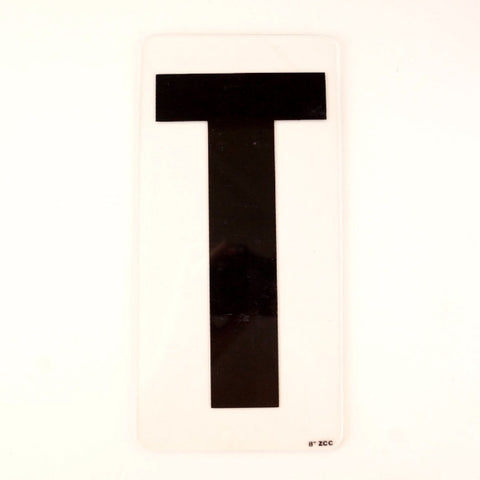 "Vintage Industrial Marquee Sign Letter ""T"", Black on Clear Acrylic, 10"" tall (c.1970s) - ThirdShiftVintage.com"