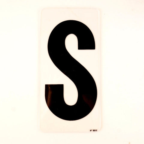 "Vintage Industrial Marquee Sign Letter ""S"", Black on Clear Acrylic, 10"" tall (c.1970s) - ThirdShift Vintage"