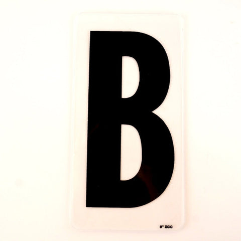 "Vintage Industrial Marquee Sign Letter ""B"", Black on Clear Acrylic, 10"" tall (c.1970s) - ThirdShiftVintage.com"