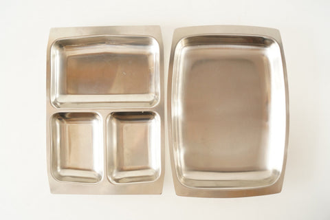 Vintage Selandia Stainless Steel Serving Trays (c.1960s) - ThirdShiftVintage.com