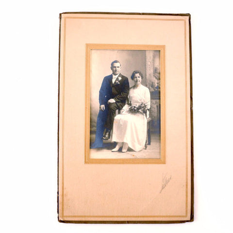 Antique Wedding Photograph (Sepia Toned) in Folder/Frame (c.1900s) - ThirdShiftVintage.com