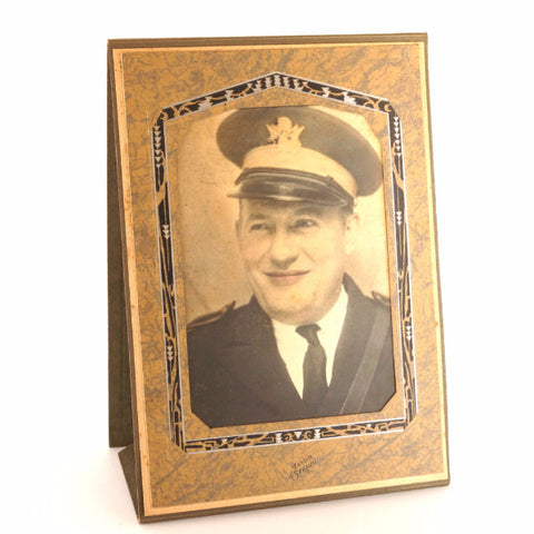 Antique Colorized Photograph of World War I Officer in Folder/Frame (c.1940s) - thirdshift