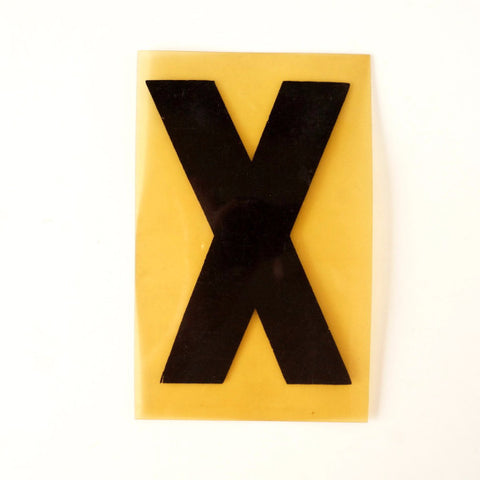 "Vintage Industrial Marquee Sign Letter ""X"", Black on Yellow Flexible Plastic, 7"" tall (c.1970s) - ThirdShift Vintage"