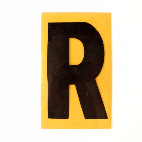 "Vintage Industrial Marquee Sign Letter ""R"", Black on Yellow Flexible Plastic, 7"" tall (c.1970s) - thirdshift"