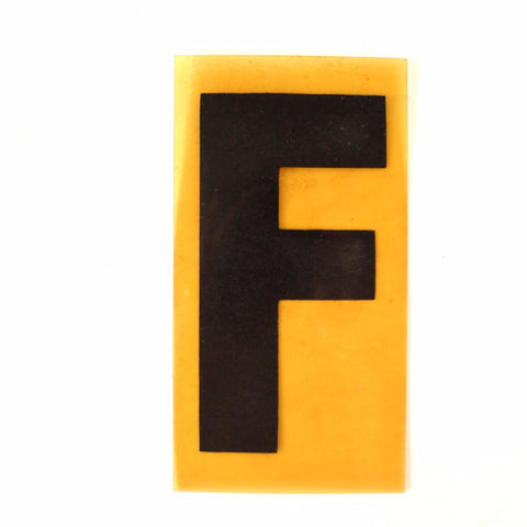 "Vintage Industrial Marquee Sign Letter ""F"", Black on Yellow Flexible Plastic, 7"" (c.1970s) - thirdshift"