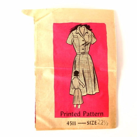 Vintage Ladies' Short-Sleeve Dress by Anne Adams Pattern 4511, Size 22-1/2 (c.1950s) - ThirdShiftVintage.com