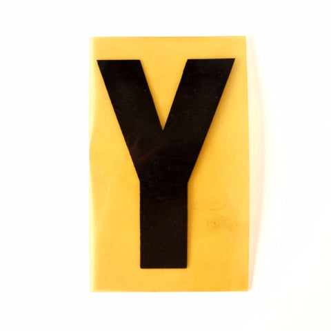 "Vintage Industrial Marquee Sign Letter ""Y"", Black on Yellow Flexible Plastic, 7"" tall (c.1970s) - ThirdShift Vintage"