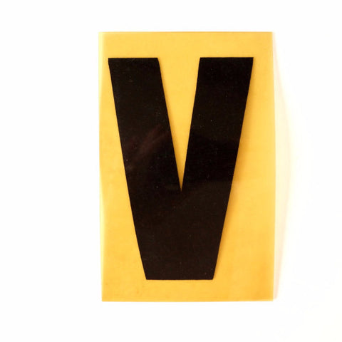 "Vintage Industrial Marquee Sign Letter ""V"", Black on Yellow Flexible Plastic, 7"" tall (c.1970s) - ThirdShiftVintage.com"