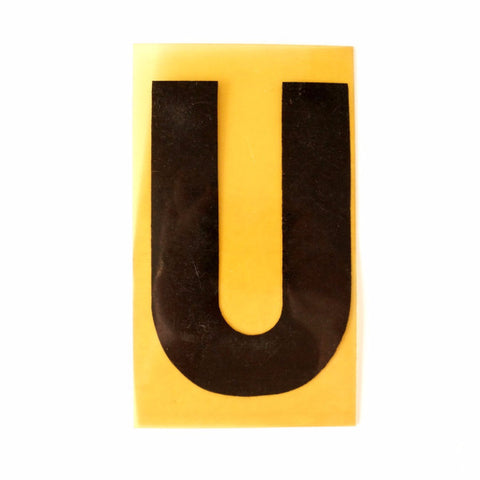 "Vintage Industrial Marquee Sign Letter ""U"", Black on Yellow Flexible Plastic, 7"" tall (c.1970s) - ThirdShiftVintage.com"