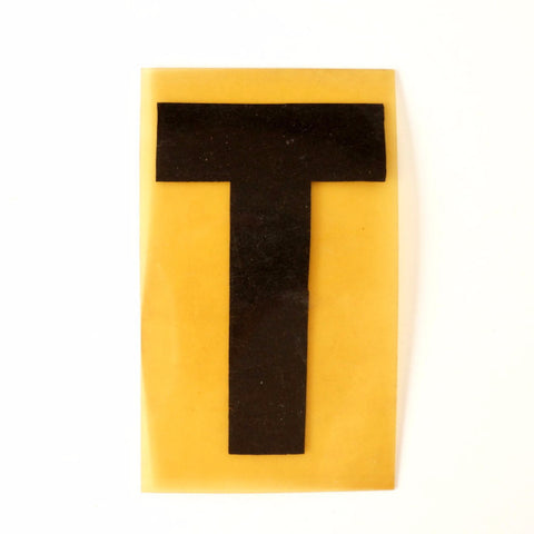 "Vintage Industrial Marquee Sign Letter ""T"", Black on Yellow Flexible Plastic, 7"" tall (c.1970s) - ThirdShiftVintage.com"