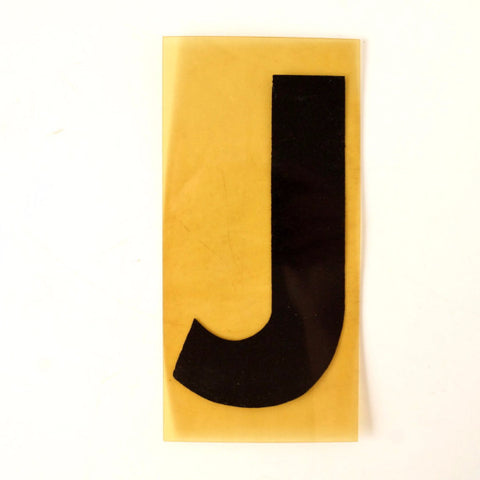 "Vintage Industrial Marquee Sign Letter ""J"", Black on Yellow Flexible Plastic, 7"" tall (c.1970s) - thirdshift"