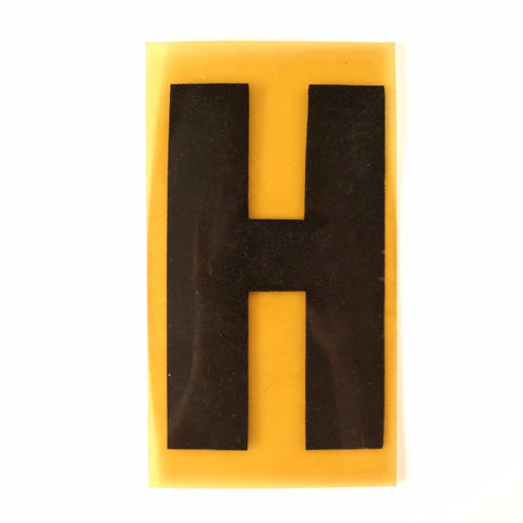 "Vintage Industrial Marquee Sign Letter ""H"", Black on Yellow Flexible Plastic, 7"" tall (c.1970s) - ThirdShiftVintage.com"