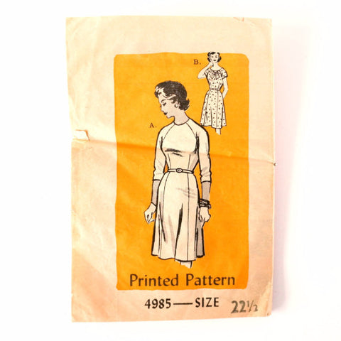 Vintage Ladies' Dress by Anne Adams Pattern 4985, Complete Size 22-1/2 (c.1950s) - ThirdShift Vintage
