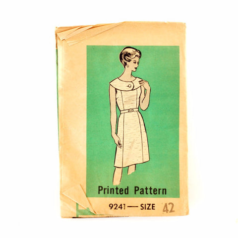Vintage Women's Sleeveless Dress Button Collar Mail Order Pattern 9241 Size 42 (c.1950s) - ThirdShiftVintage.com