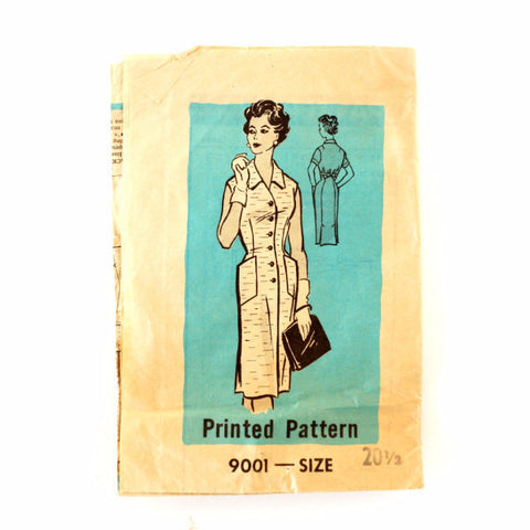 Vintage Women's Button Up Dress, Marian Martin Pattern 9001, Size 20-1/2 (c.1950s)