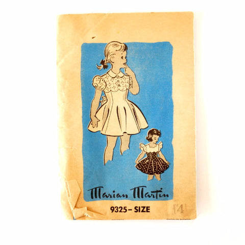 Vintage Child's One-Piece Dress by Marian Martin Pattern 9325, Complete (Size 4) (c.1950s)