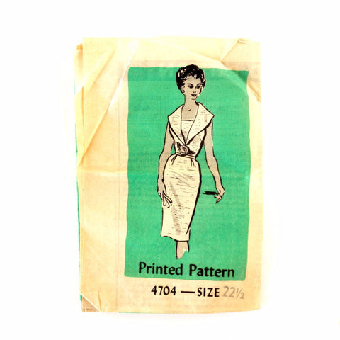 Vintage Women's Sleeveless Dress, Marian Martin Pattern 4704 Size 22-1/2 (c.1950s) - ThirdShiftVintage.com