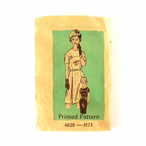 Vintage Women's Short Sleeved Dress Mail Order Pattern 4629, Complete Size 20-1/2 (c.1950s) - ThirdShiftVintage.com